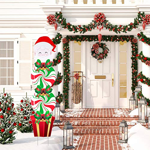 Christmas Yard Signs Stakes Decorations Xmas Plastic Yard Decor Outdoor Candy Garden Signs with Stakes for Outdoor Patio Winter Ornaments, 54 Inches (Santa Style)