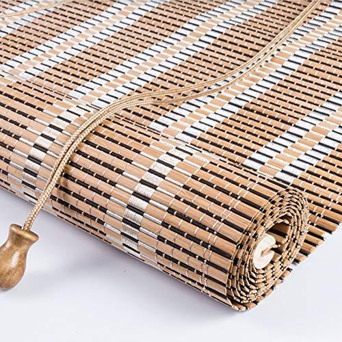 """WYAN Anpassbare Bambus Rollos mit Handgriffen, Roll Up Shades im Freien for Porch Terrasse, Balkon, Sonnenschirme 80% - (Breite 80-140cm / 31,5-55,1"""") Per finestra/Porta/Patio"""