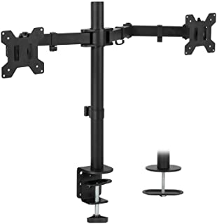 Mount-It! Dual Monitor Mount   Double Monitor Desk Stand   Two Heavy Duty Full Motion Adjustable Arms Fit 2 Computer Screens 17 19 20 21 22 24 27 Inch   VESA 75 100   C-Clamp and Grommet Base