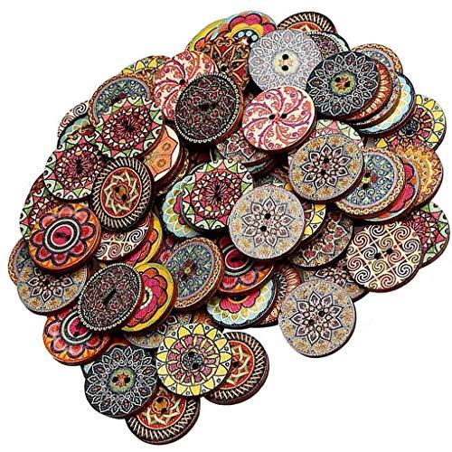 teng hong hui 100pcs patrón Aleatorio botón de Madera Pintura de la Flor Redondo del botón de Imprimir botón de Forma de la Flor Retrol una Variedad de Botones del Kit, 20mm