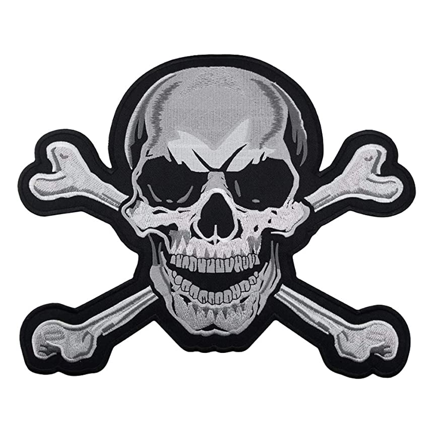 28CM Skull Bones Embroidery Iron On Patch for Vest Clothing Application Cool Biker Motorcycle Patch (28CM)