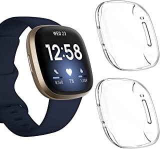 (2 PACK) Kartice Compatible with Fitbit Versa 3 Fitbit Sense Fitbit Versa3 ケース 全面保護 耐衝撃 保護カバー キズ防止「ソフトTPUクリア 」 超軽量 for フィッ...