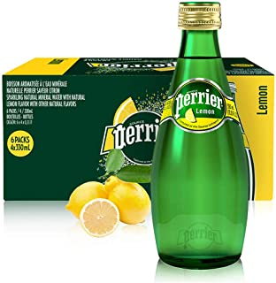 PERRIER Natural Sparkling Water, Lemon Flavoured in Glass Bottle - 330ml (Pack of 24)
