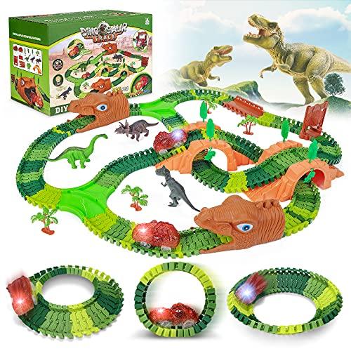 Magicfun Circuito Coches Dinosaurio, 265 Piezas Pista de Coches con Pista Flexible, Dinosaurios Juguetes y 2 Coches Luminosos, Juego Educativo Regalos para Niños 3 4 5 6 Años