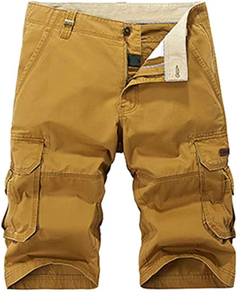 Wxian Men's Solid Color Slim Fit Multi-Pocket Cotton Cargo Shorts