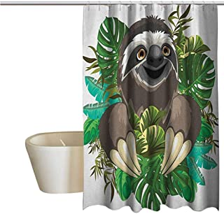 Sloth Geometric Shower Curtain Cartoon Mammal on Tropical Jungle with Green Banana Leaves Cute Character for Kids Bathroom Guest Bathroom W108 x L70 Inch Chocolate Green Ivory