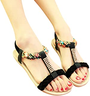 ERLOU Spring-Summer Women Ladies Bohemian Loafers Crystal Casual High-Heel Sandals Flats Shoes
