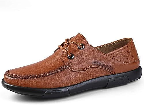KCBYSS Chaussures Oxford for Hommes Chaussures habillées à à à Lacets Style Ox Cuir Simple Couleur Pure Haut Léger (Couleur   rouge marron, Taille   42 EU) 56f