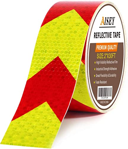 Reflective Tape Waterproof High Visibility Red & Yellow, Industrial Marking Tape Heavy Duty Hazard Caution Warning Sa...