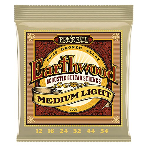 Ernie Ball Earthwoo d Medium Light 80/20 Bronze Akustikgitarre Saiten - 12-54 Gauge
