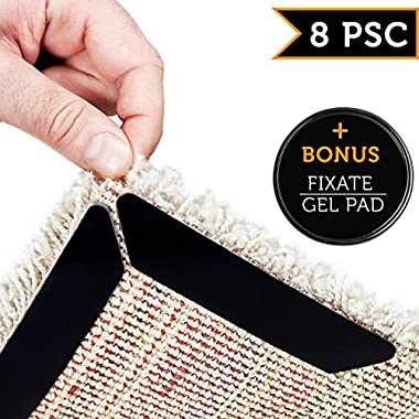 Rug Grippers by LEALSO Gripper – 8 pcs Black Anti Curling Rug Gripper. Anti Slip Straight Carpet Gripper for Corners and Edges – Anti Slip Rug Pad for Rugs – Ideal Rug Stopper For Kitchen | Bathroom