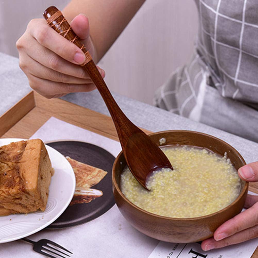Cuchara de madera japonesa Coaste de 4 piezas, 204 cm, mango plano largo, cuchara de arroz Zhennan, cocina de postre y café: Amazon.es: Hogar