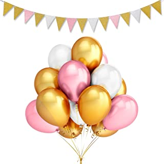 LeeSky 100Pcs 12inch Thicken Round Pearlescent Latex Balloons- Gold & Pink & White Latex Balloons and Vintage Style Pennan...