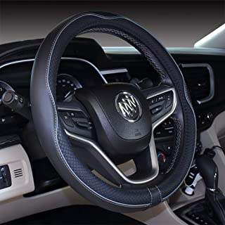 Micro Fiber Leather Car Steering wheel Cover 15 inches (Black Gray)
