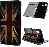 F�r Samsung Galaxy A30 H�lle Lader Tasche PU Lader H�lle Gemalt Muster Flip Brieftasche Kartenhalter Magnetschnalle St�nder Sto�fest Kratzfest Sto�stange Handyh�lle Britische Flagge