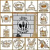 12 Plantillas de Cocina Plantillas de Arte de Pintura Plantilla de Dibujo de Cocina Reutilizable para Álbum de Recortes Dibujo Rastreo DIY Piso Pared Muebles, 7,9 x 7,9 Pulgadas