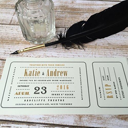 Stelzen (Gattung) Designs personalisierbar Hochzeit Einladungen in einem Kino Ticket Art-Deco-Stil, mit Umschlägen auf glatten weiß oder elfenbeinfarben 300gsm-Karte in einer Lovely Black Box (wählen Sie 25,50,75oder 100Einladungen) white or ivory