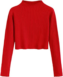 ZAFUL Women's Mock Neck Long Sleeve Ribbed Knit Pullover Crop Sweater
