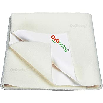 OYO BABY Water Resistant Bed Protector Baby Dry Sheet with Ultra absorbance -Large (140 cm X 100cm), Ivory