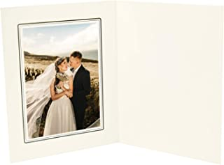 Golden State Art, Ivory Cardboard Photo Folder for a 5x7 Photo - 50 Pack