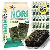 KIMNORI Seasoned Seaweed Snacks Sheets – Organic Sea Salt Flavor 24 Individual Packs Roasted Crispy Premium 100% Natural Laver Kim Nori 4g 0.14 Ounce 김 のり 海苔 紫菜