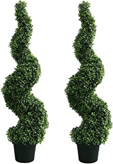 MOMO PLANT 47 Inch Artificial Boxwood Topiary Tree Spiral Plants Fake Faux Plant Decor in Plastic Pot Green Indoor or Outdoor, Set of 2
