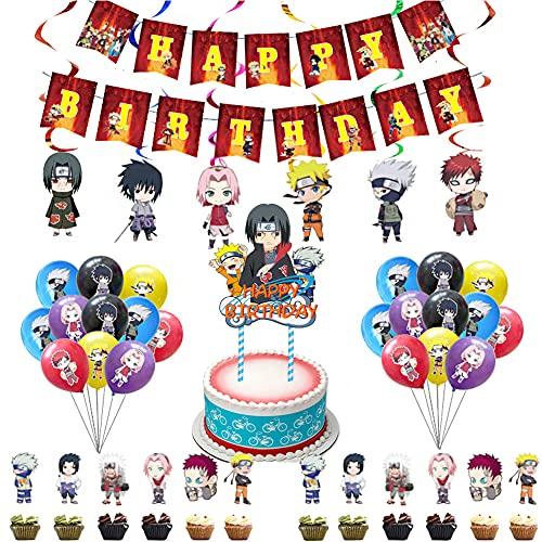 Naruto Globos De Anime, 44 Pcs Juego De Fiesta Temática De Naruto Anime Japonés Feliz Cumpleaños Banner Globo Tarjeta De Pastel Fiesta Combinada Para Niños Decoración De Tartas De Fiesta