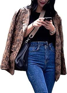 Howely Women Print Button Turn-Down Collar Retro Coat Jacket Blazer Outwear