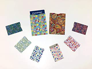 Designer Pattern (Set A), 6 Credit Card Sleeves and 2 Passport Jackets, Created from FIPS 201 Approved RFID Blocking Laminate