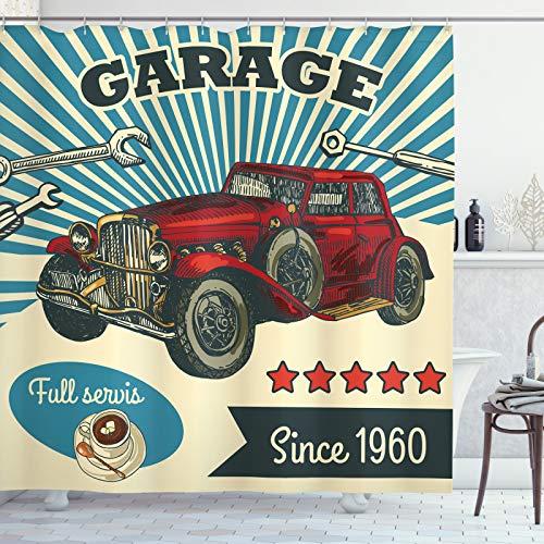 ABAKUHAUS Automechaniker Duschvorhang, Retro Car Garage Art, Digital auf Stoff Bedruckt inkl.12 Haken Farbfest Wasser Bakterie Resistent, 175x240 cm, Mehrfarbig