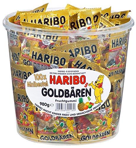 HARIBO Goldbären Dose, 4 x 100 Minibeutel, 4 x 980g