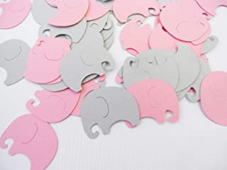 Baby Elephants Table Confetti   100 pcs   Pink and Gray Baby Shower Decoration