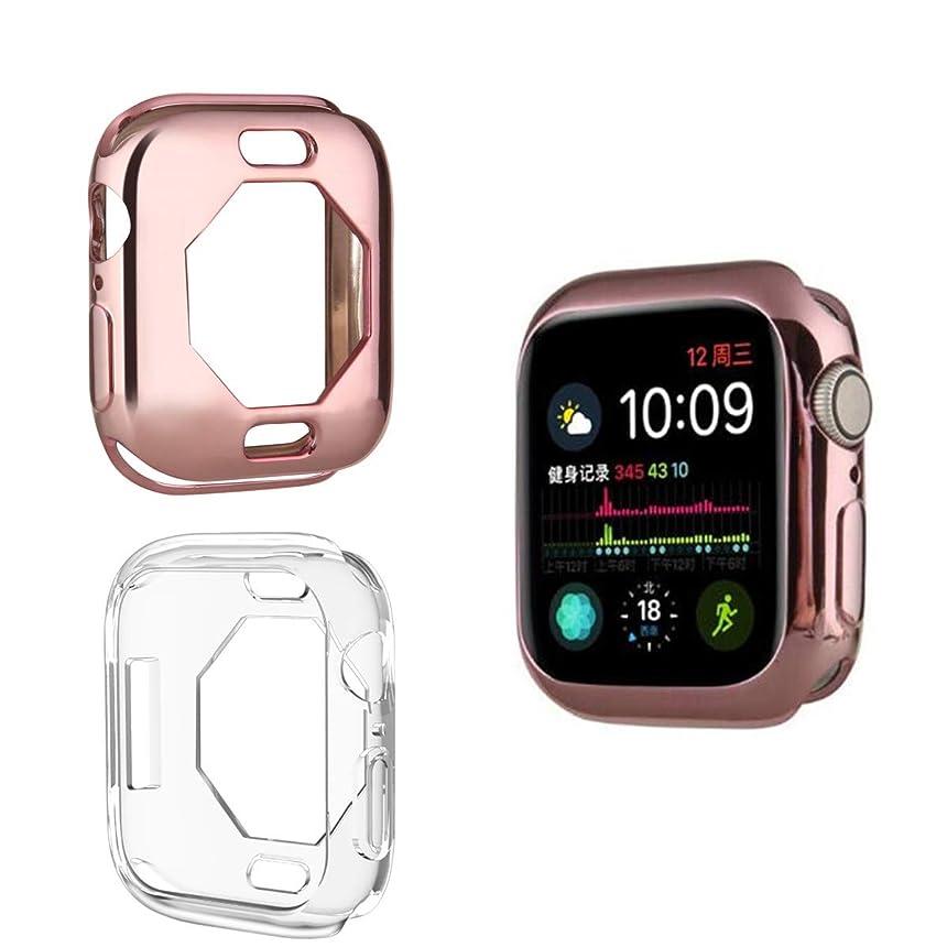 エレクトロニック大工不健康[ 2枚入り ] Compatible With Apple Watch Series 4 40mm / 44mm TPU Case めっき色ケース, [ 落 冲 撃 ] ] [ TPU ケース ] ラギッド?アーマー アップルウォッチ シリー ズーズ 4 対応 (Series4 40mm, ローズピンク+透明な色)