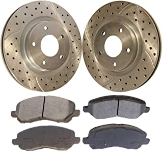 Prime Choice Auto Parts BRAKEPKG405 Set of 4 Drilled and Slotted Rotors and 8 Ceramic Brake Pads