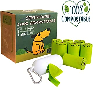 moonygreen Dog Poop Bag, Home Compostable Pet Waste Bags, Vegetable-Based Eco-Friendly, Unscented, Compostable, Extra Thick, Leak Proof, Size 9 x 13 Inches