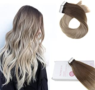 Moresoo 22 Inch Hair Extensions Tape in Human Hair Remy 50g Skin Weft Tape in Hair Balayage #4 Dark Brown Fading to #16 Golden Blonde 100% Remy Human Hair 20pcs Per Package