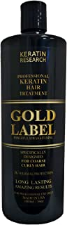 Gold Label Professional Brazilian Keratin Blowout Hair Treatment Super Enhanced Formula Specifically Designed for Coarse, ...