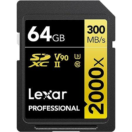 Lexar SDカード 64GB Professional 2000x SDXCカード - 最大読込300MB/秒、書込260MB/秒、UHS-II、Class 10、U3、V90 【4K Ultra HD 動画撮影】【デジタル一眼レフカメラ、デジタルカメラ、デジタルビデオカメラ対応】【UHS-Iデバイスとの下位互換性】