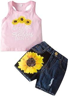 bilison Toddler Baby Girl Summer Clothes Sunflower Print Vest Top+Denim Shorts 2PCS Outfits Set