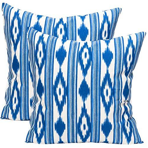 TRESMESTRES Fundas de Cojines 55 x 55 - Decoración Ikat - Decorativos para Sofá o Almohadas/Almohadones para Cama - Grandes - Diseño Mediterráneo - Funda Cojín 55x55 cm, 2 Pack, Azules