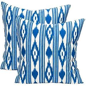 TRESMESTRES Fundas de Cojines 45x45 - Decoración Ikat - Decorativos para Sofá, Almohadas/Almohadones para Cama - Diseño Mediterráneo - Funda Cojín 45 x 45 cm, 2 Pack, Azules