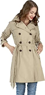 Happy Rainy Days Women's Trench Coat with Removable Hood