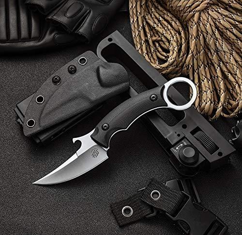 ideaselection Outdoor Survival Messer Camping Jagdmesser feststehende Klinge Messer D2 Stahl Fahrtenmesser Gürtelmesser Überlebensmesser Ring Messer Griff Einhandmesser schwarz mit Kydex Scheide EDC