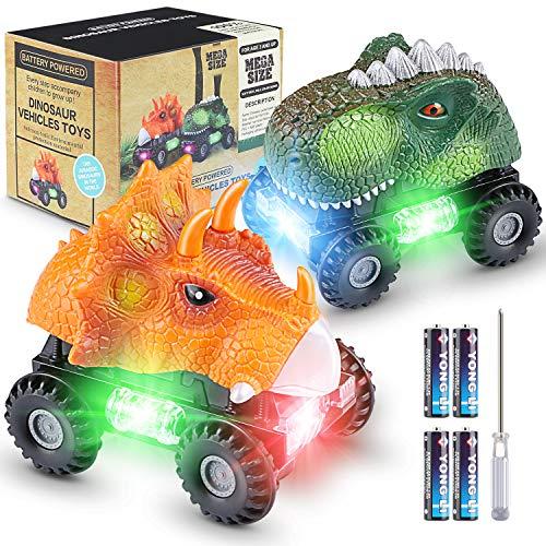 Magicfun Dinosaurier Autos, 2 Stück Dinoautos mit Spaß LED-Lichtern und Geräuschen, BPA Frei Plastik Dino T-Rex Triceratops Tierautomatikauto Spielzeug, Geschenk für Jungen Mädchen 3-8 Jahre