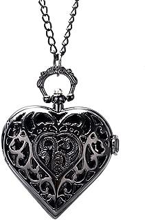 懐中時計 ブラックピアス ハート型 懐中時計 ネックレスペンダント 男性へのギフト