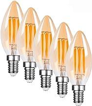 Yaeer E14 C35 4W Vintage Edison Small Screw SES LED Filament,Warm White,LED Candle Bulb,Amber Clear Decorative Lamp Bulbs,...