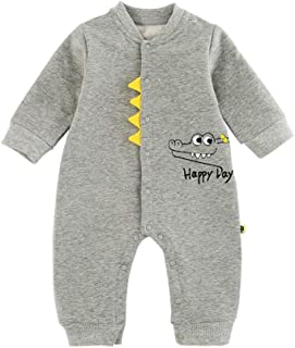 ALLAIBB Infant Babies Autumn&Spring Long Sleeve Romper Cartoon Crocodile Cotton Jumpsuit