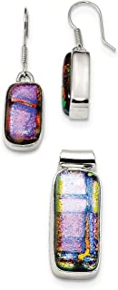Sterling Silver Dangle Handcrafted Shepherd hook Muliticolor Dichroic Glass Earrings and Pendant Set