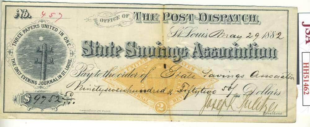 Ranking TOP15 Joseph Pulitzer JSA Coa Hand Check Prize 1882 Signed Au National uniform free shipping