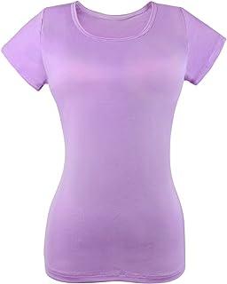 DR. MAのGOTEK Women's Built in Bra T-Shirts, Modal Yoga Camisole with Shelf Padded Bra, Casual Short Sleeve T-Shirts...